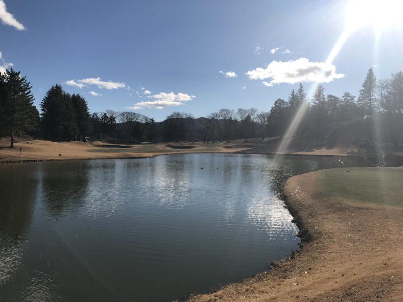 皆川城カントリークラブの池とグリーン